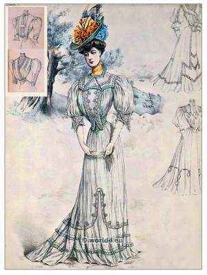 Art nouveau, Fin de siècle fashion. Belle Epoque costumes. Sans-Ventre-Corset. 1910s clothing