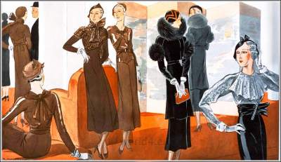 Haute couture fashion. French art deco costumes. Cocktail dresses. 1930s fashion.