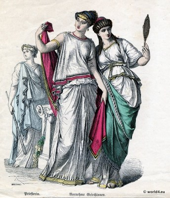 Ancient Greek Costumes. Classical antiquity, ancient costumes from Greece. Traditional Greek women, clothing
