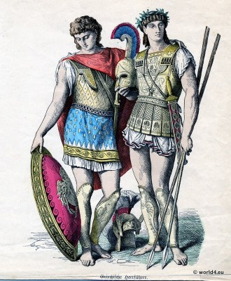 Ancient Greek soldiers with shield and weapons