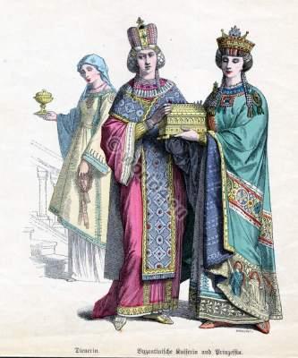 Byzantine nobility, empress, prinzess, servant, costumes, crown, tunic, court, costume, habit, dress, illustration,