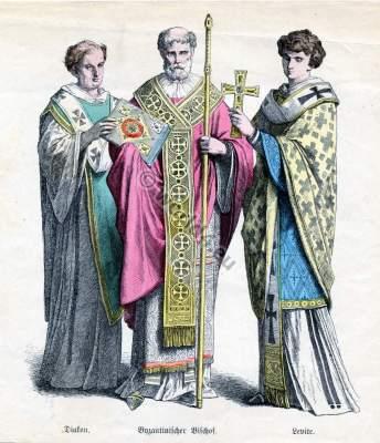 Byzantine costumes. Byzantium Bishop, Deacon and Levite liturgical garment