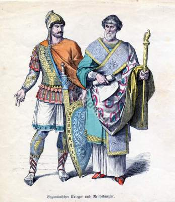Ancient Byzantine nobility costumes and court dresses. Byzantium Knight with amor. Template for carnival costume ideas. Men`s clothing drawing