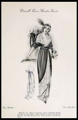 France Fin de siècle fashion. French haute couture gown. Belle Epoque cocktail dress. Drecoll Lace Theatre Gown