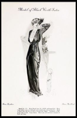 France Fin de siècle fashion. French haute couture gown. Belle Epoque cocktail dress by couturier Charles Frederick Worth.