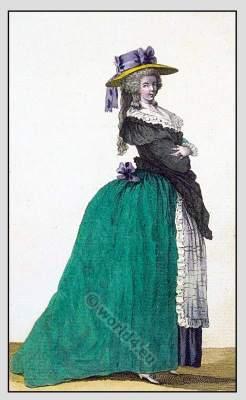 Cabinet des Modes. Les robes & fourreaux à L'Angloise, à la Turque, à la Janséniste, à la Circassienne. Rococo fashion history.