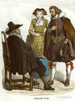 German citizen in baroque costumes. 16th century fashion. Renaissance clothing.