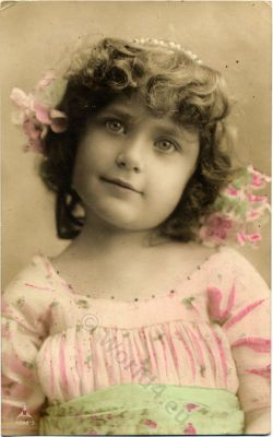Vintage german girls dresses and hairstyle. Fancy romantic child clothing and fashion. Retro Children Costume in 1910.