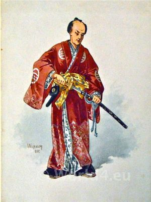 Antique silk kimono. Japanese Design. Japan Samurai hairstyle and clothing