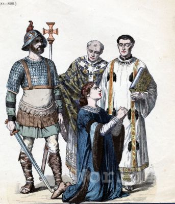 Carolingian fashion history. Byzantine costumes. Medieval Knight, Priest, Bishop
