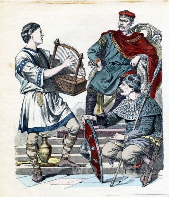 French middle ages dresses. Carolingian nobility period clothing.