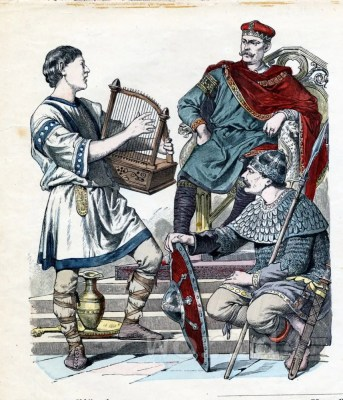 Middle ages costumes. Carolingian, King Charles the Bald. 9th century clothing. Byzantine dress