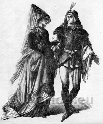 German medieval period dresses. Men`s and Women`s clothing of the 15th century.