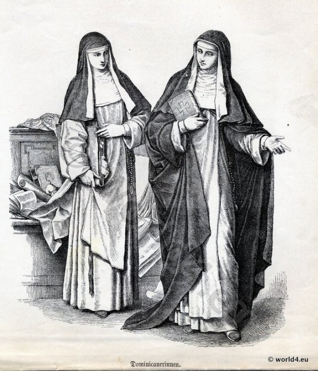Monachism. Monastic costumes history. Dominican Nuns habit.
