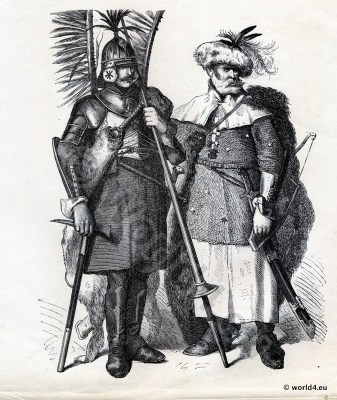 Poland Knights in 16th century. Poland historical dress. Middle ages Cavalry, military dress.