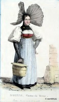 Traditional Switzerland national costume. Swiss folk costume. Clothing Canton of Bern
