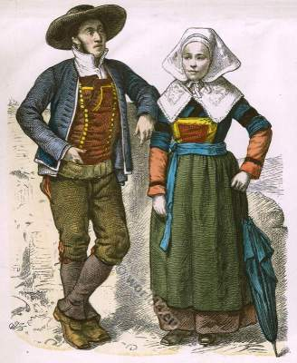 Traditional French women`s and mens clothing. Trachten der Bretagne. French national costume