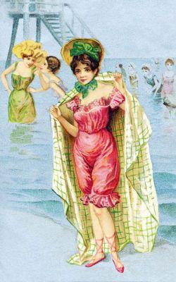 Boho swimsuit, swimwear in 1900. style of Belle Époque or Art Nouveau.