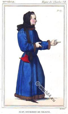 Bourgeois from Cologne. Costume in the Reign of Charles VII