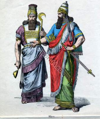 Ancient Assyrian King and nobility costumes.