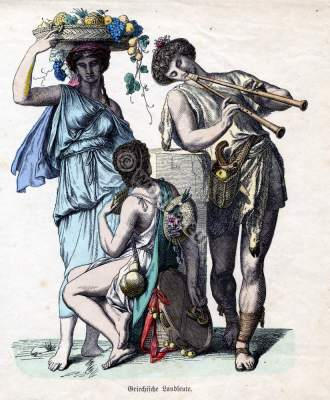 Agricultural people from ancient Greece. Arcadian scene. Ancient Greek costumes.