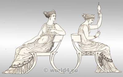 Grecian Ladies in chiton. Ancient Greek Costumes.