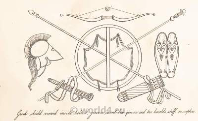 Grecian helmets, armour and weapons of classical antique warrior.