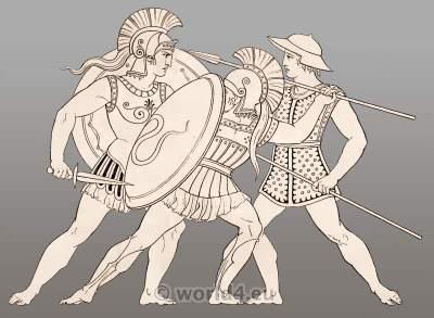 Ancient Greek warriors in armor fighting.