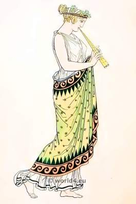 Ancient Greek Costumes. Classical antiquity, ancient costumes from Greece. Ancient creek women`s hairstyle and head-dress.
