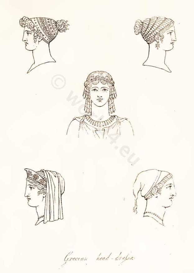 Ancient Grecian head-dresses, antique creek women`s hairstyle and head-dress. Grecian Ladies Head Dress