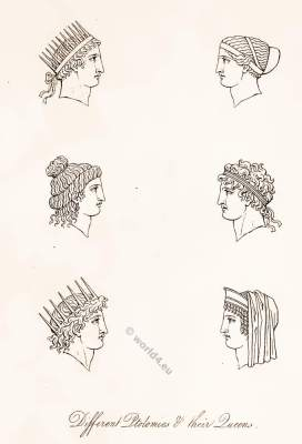 Ancient Greece.  Ptolemaic Greece headdresses. crowns. Antique Greek costumes