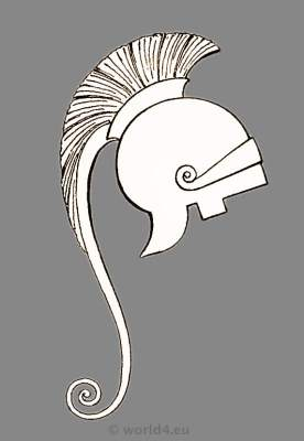 Ancient Greece helmet. Greek warrior and armor