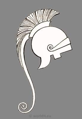 Ancient Greece helmet. Greek warrior and armor