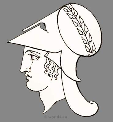 Ancient Roman goddess Minerva head dress and helmet. Antique Warrior and soldiers uniforms