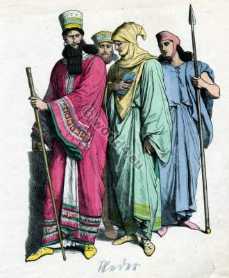 Ancient Medes Emperor, King, soldiers and officers costumes. Nobility and Military dresses. Knights amor. Template for carnival costume ideas.