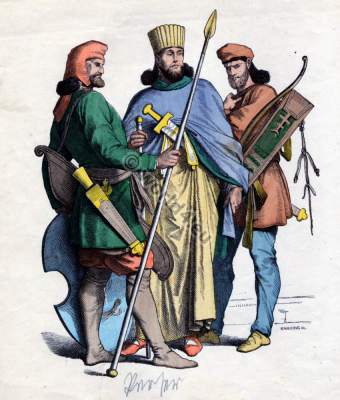 Persian warriors and king costumes. Ancient Asia military dresses. Antique nobility.