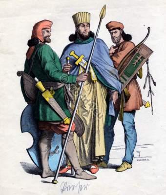 Ancient Persian clothing. Persian King and warriors costumes. Mesopotamia nobility dress.