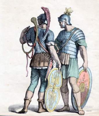 Ancient Roman legionaries, soldiers and officers costumes. Military dresses. Knights amor. Template for carnival costume ideas.