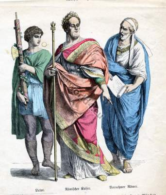 Ancient Roman empire costumes. Emperor and Senator clothing. Antique Nobility dress