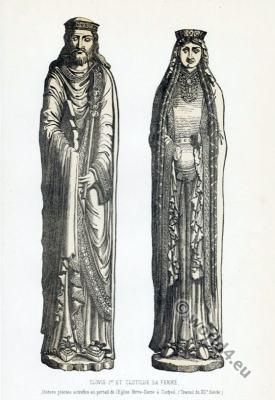 Clovis I and Clotilde. 5th century merovingian King and Queen costumes