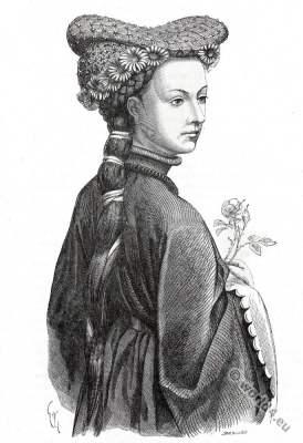 Isabeau de Bavière. Headdresses 14th century. Middle ages fashion. Gothic era