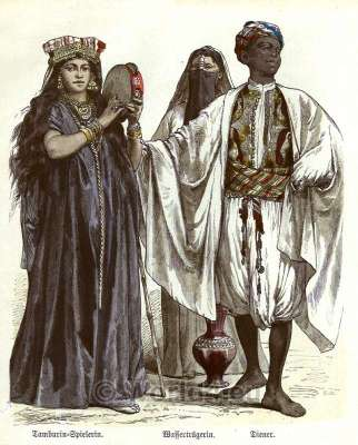 Traditional arab cloth for man and women. Egyptian Female dresses with turban, tarboosh, vests, harem pants, Sal Sapik.