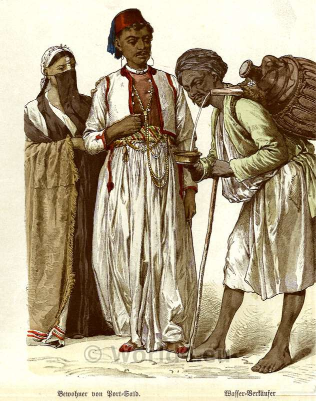 Beautiful Traditional Egyptian Costumes In 1850 Young Bedouin Musican Female