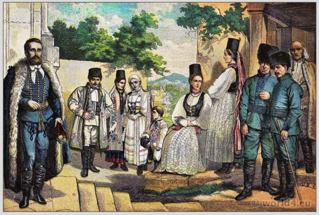 Traditional Woman`s and Mens Dress of Bucovina. Ukrajnan folk dresses and clothing. East european national costumes.