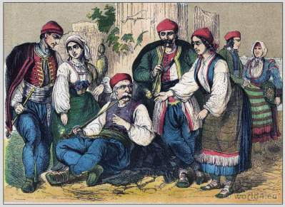 Traditional Woman`s and Mens Dress of Dalmatia. Dalmatian, Croatian, Bosnian folk dresses and clothing. South East european national costumes.