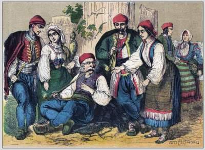 Dalmatian, Croatian, Bosnian folk dresses and clothing. South East european national costumes.