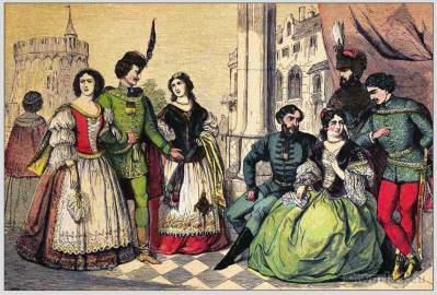 Hungary national costumes. Hungarian folk clothing. East Europe dresses.
