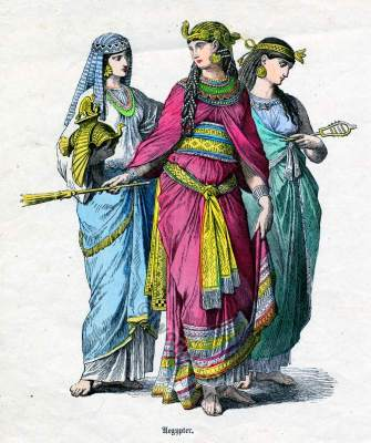 Ancient Egyptian costumes. Pharaoh dress. Historical Egyptian fashion costumes and clothing