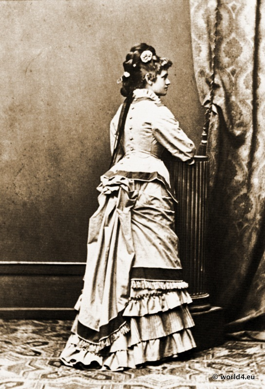 Bustle. Cul de Paris. German fashion Turnüre costume. Clothing of the period of the 1870s.