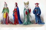 French Middle Ages clothing. Burgundy court dresses. Medieval gothic costume for women.